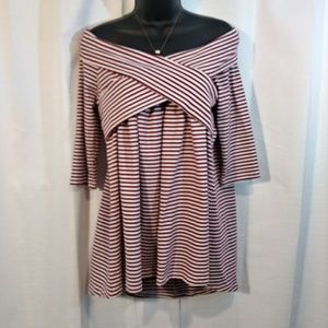 NWT Umgee Red/White off shoulder hi-lo tunic- med